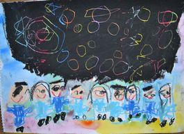 お友達をたくさん描きました。 星は丸く、左側にあるのは太陽系のようです。